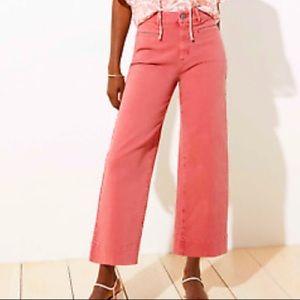 Loft high waist wide leg crop rose colored jeans